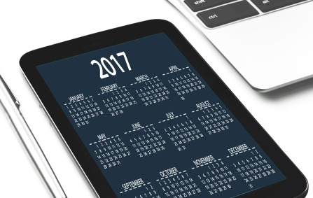 2017 calendar displayed on a smartphone