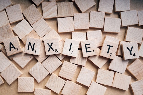 anxiety written in Scrabble tiles