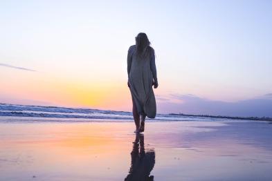 woman walking alone on a