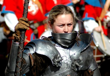 woman wearing suit of armour