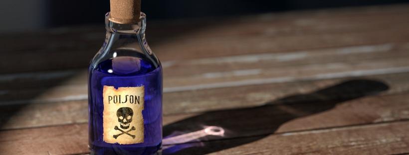 antique bottle labelled poison