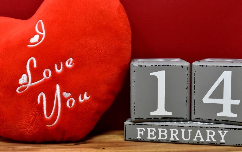heart-shaped I love you pillow and 14 February blocks