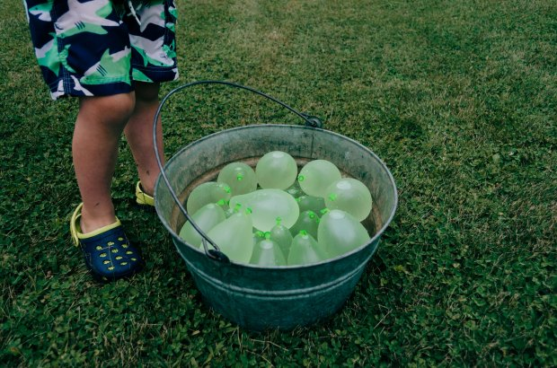 Bucket filled with balloons