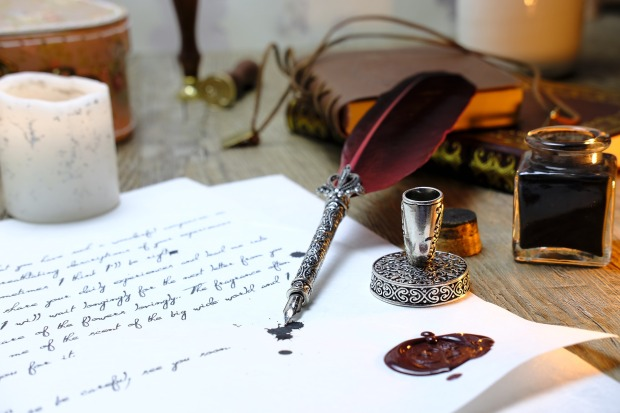 letter with quill and ink