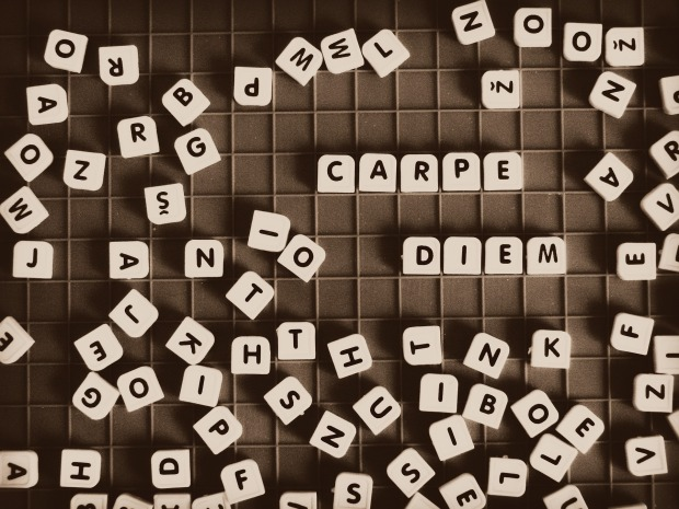carpe diem spelled out in letter tiles
