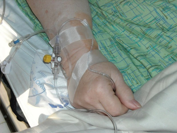 arm with intravenous tubing