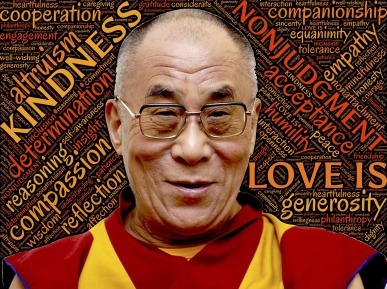 Dalai Lama surrounded by word cloud