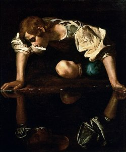 painting of Narcissus staring at his reflection