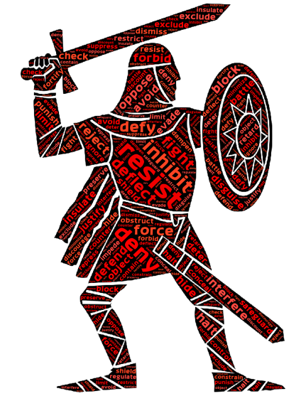 resistance word graphic in the form of a knight with sword and shield