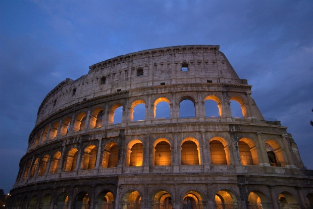 Roman Colosseum lit up