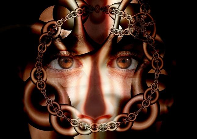 chains around a person's head