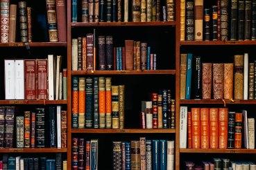 bookshelf filled with academic books