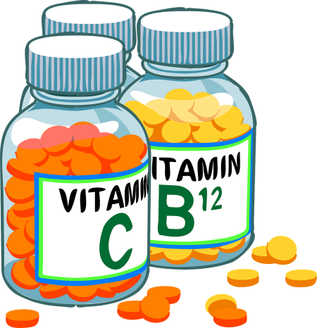 bottles of vitamin C and vitamin B12