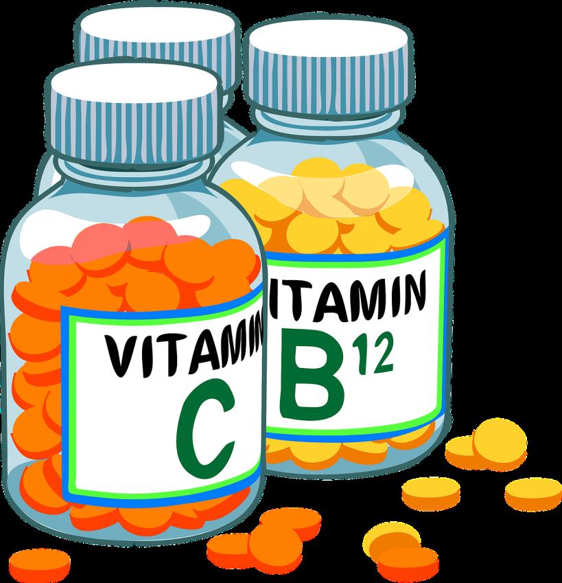bottles of vitamin C and vitamin B12