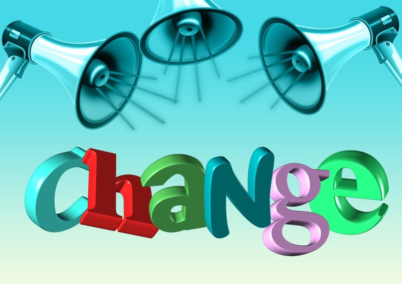 megaphones and the word change