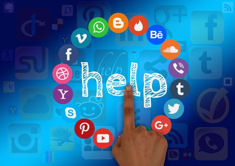 social media icons surrounding the word help