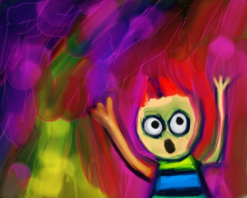 drawing of child screaming