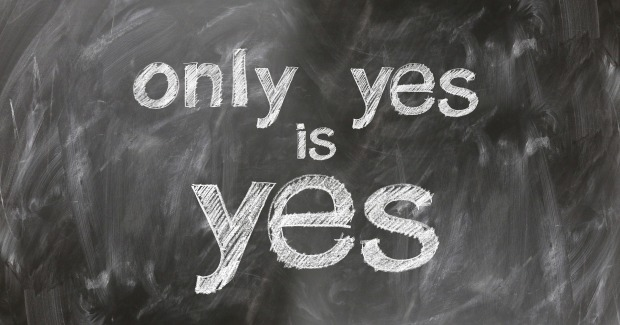 """only yes is yes"" written on a blackboard"