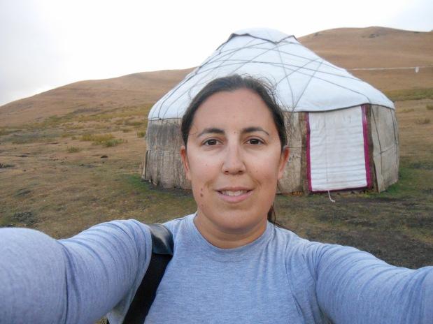 selfie by a yurt in Kyrgyzstan