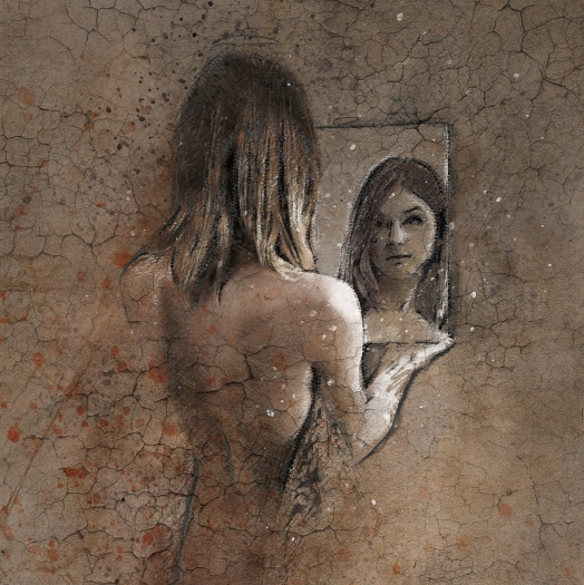 drawing of woman looking at reflection in mirror