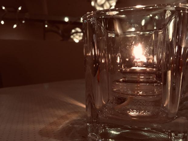 tea light in glass holder