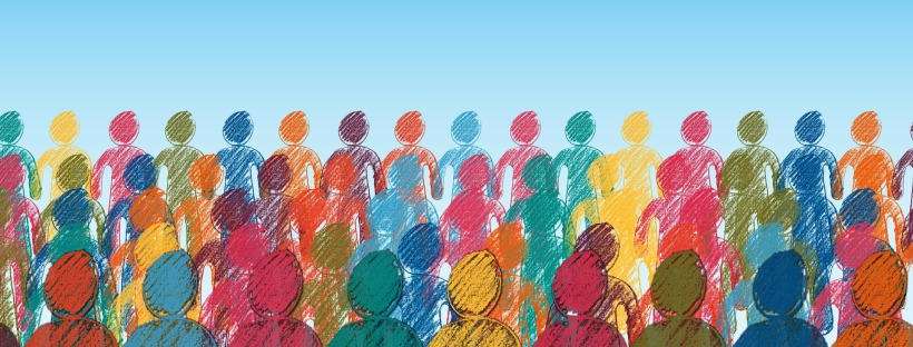 drawing of a crowd of multicolored human shapes