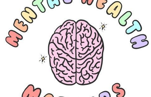 illustration of a brain encircled by the words mental health matters