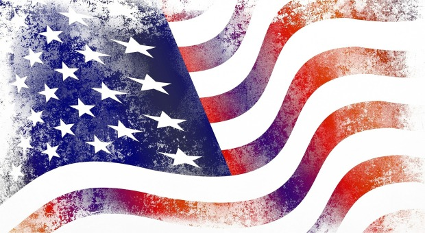 drawing of an American flag waving