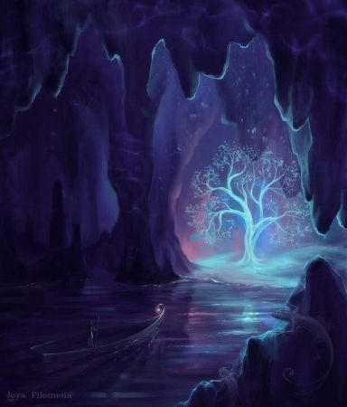 artistic image of a tree glowing inside a dark cave